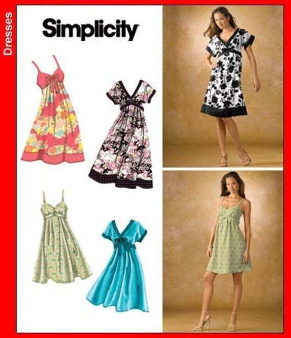 Sewing Pattern for Womens Dress in Misses Sizes, Simplicity Pattern 3745, New