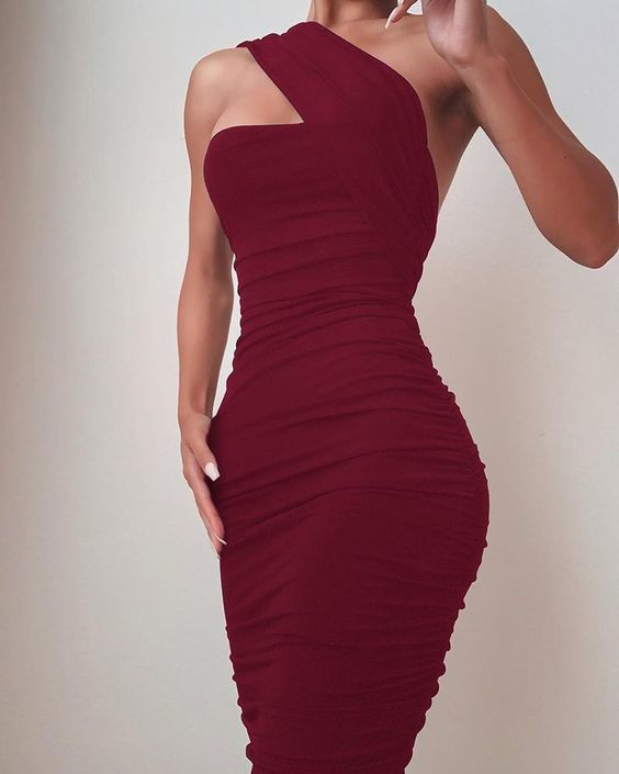 One Shoulder Sleeveless Ruched Bodycon Dress M1870