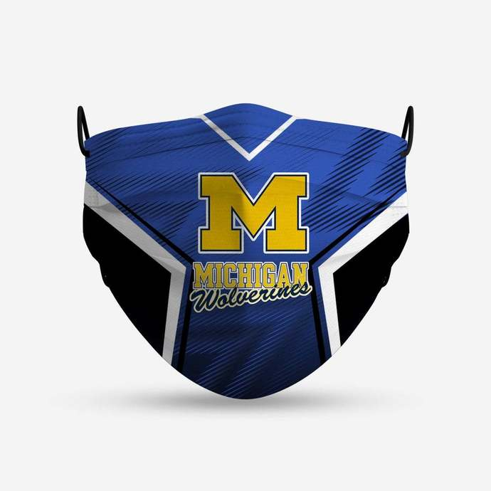Michigan Wolverines face mask, football, face protection, four layers, pleated,