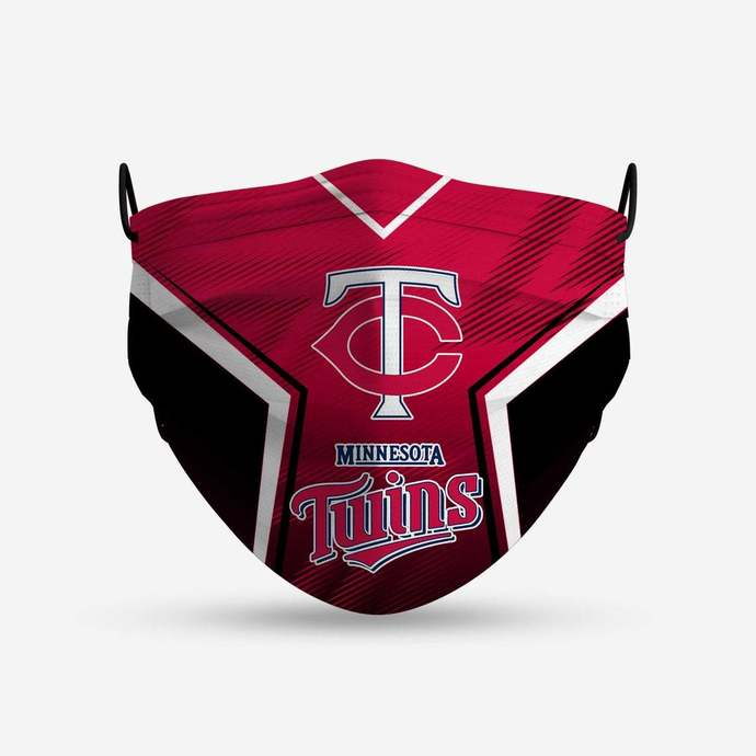 Minnesota Twins face mask, football, face protection, four layers, pleated,