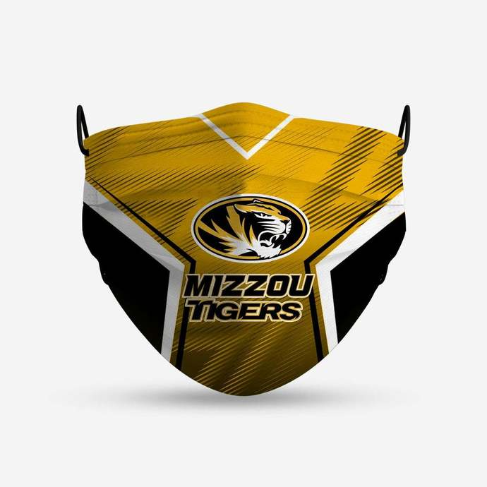 Missouri Tigers face mask, football, face protection, four layers, pleated,