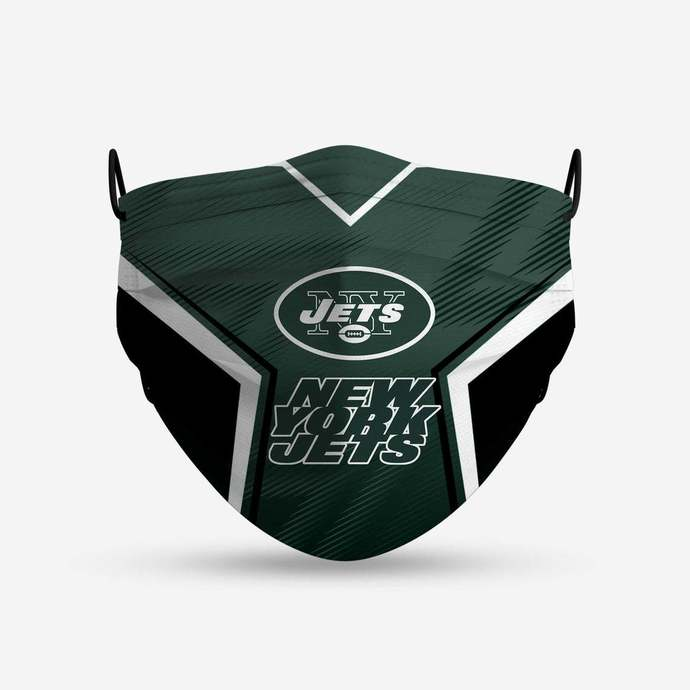 New York Jets face mask, football, face protection, four layers, pleated,