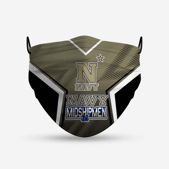Navy Midshipmen face mask, football, face protection, four layers, pleated,