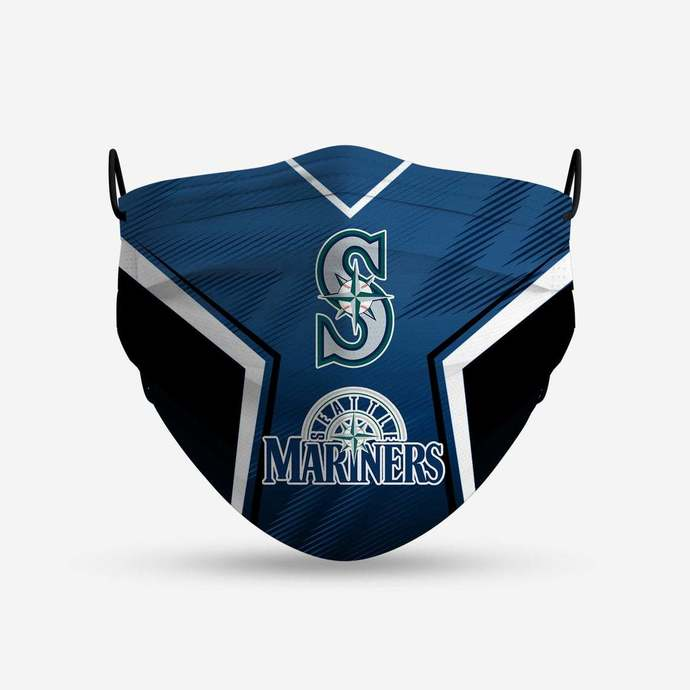 Seattle Mariners face mask, football, face protection, four layers, pleated,