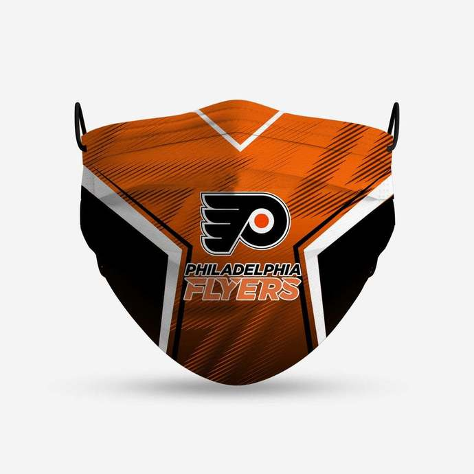 Philadelphia Flyers face mask, football, face protection, four layers, pleated,