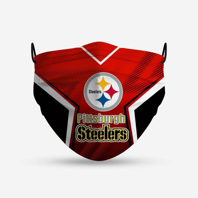Pittsburgh Steelers face mask, football, face protection, four layers, pleated,
