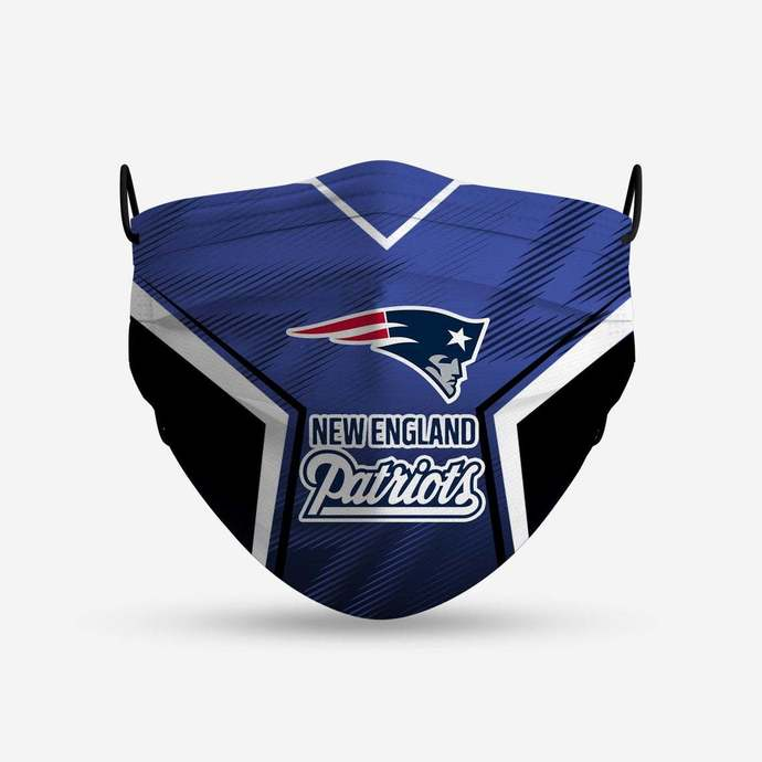 New England Patriots face mask, football, face protection, four layers, pleated,