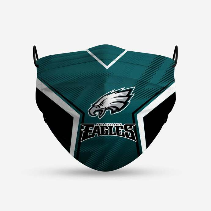 Philadelphia Eagles face mask, football, face protection, four layers, pleated,