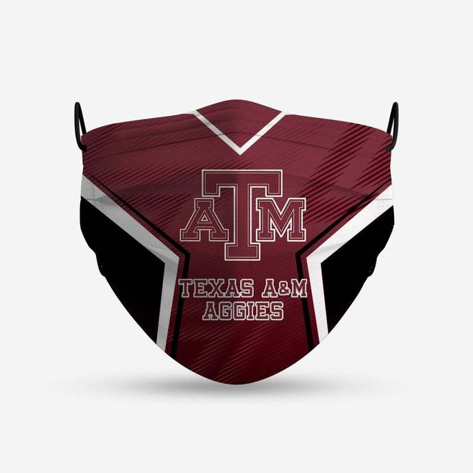 Texas A&M Aggies face mask, football, face protection, four layers, pleated,