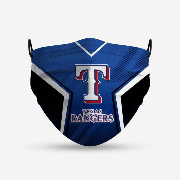 Texas Rangers face mask, football, face protection, four layers, pleated,