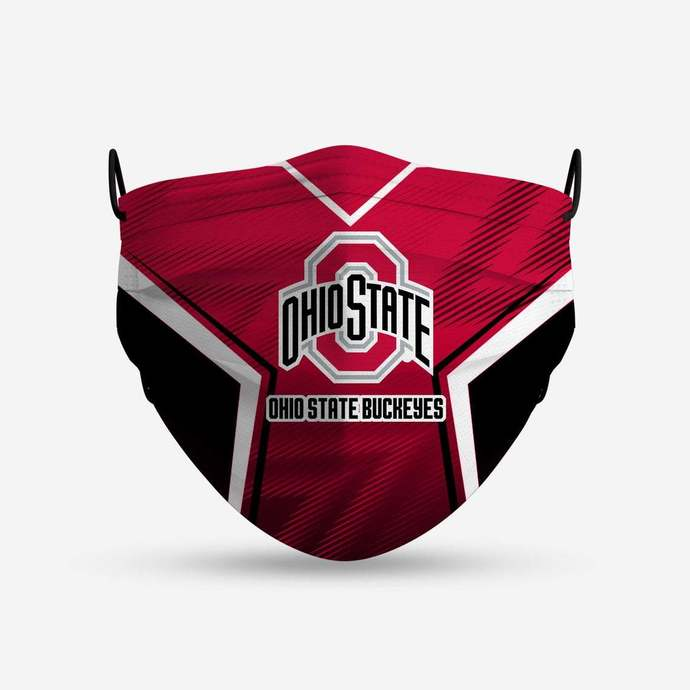 Ohio State Buckeyes face mask, football, face protection, four layers, pleated,