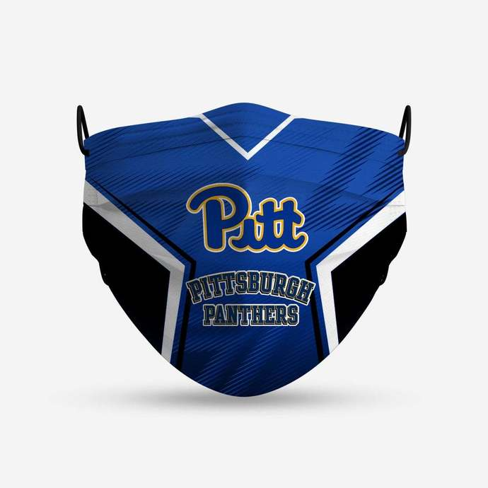 Pittsburgh Panthers face mask, football, face protection, four layers, pleated,
