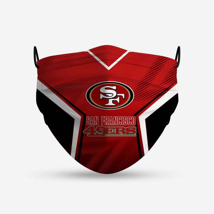 San Francisco 49ers face mask, football, face protection, four layers, pleated,