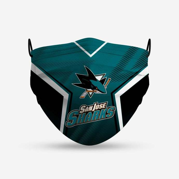 San Jose Sharks face mask, football, face protection, four layers, pleated,