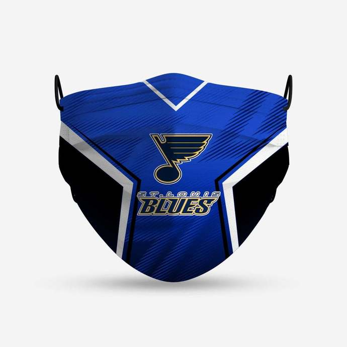 St. Louis Blues face mask, football, face protection, four layers, pleated,