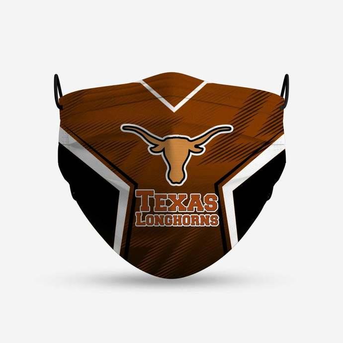 Texas LongHorns face mask, football, face protection, four layers, pleated,