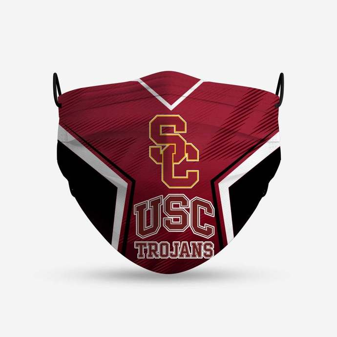 USC Trojans face mask, football, face protection, four layers, pleated, elastic,
