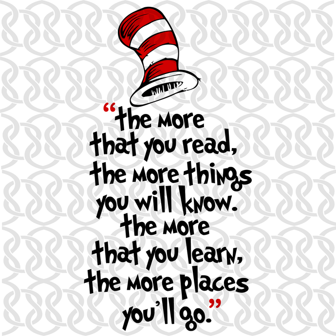 The more that you read the more things you will know svg,Dr seuss svg, Dr seuss