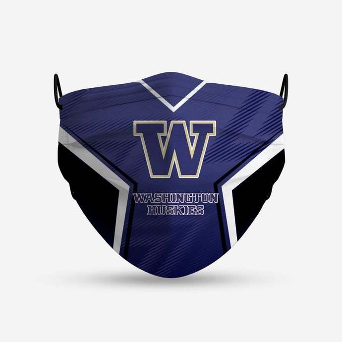 Washington Huskies face mask, football, face protection, four layers, pleated,