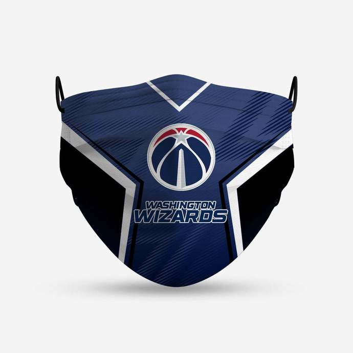 Washington Wizards face mask, football, face protection, four layers, pleated,
