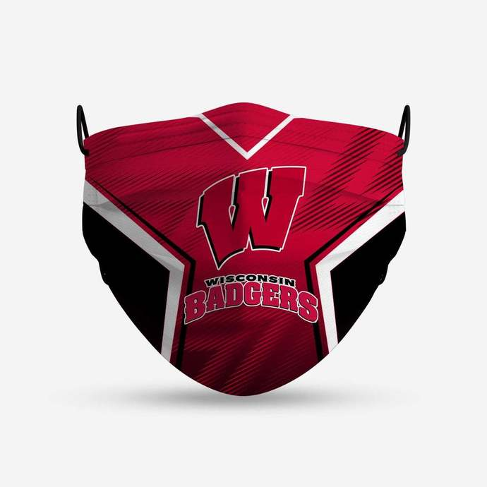 Wisconsin Badgers face mask, football, face protection, four layers, pleated,