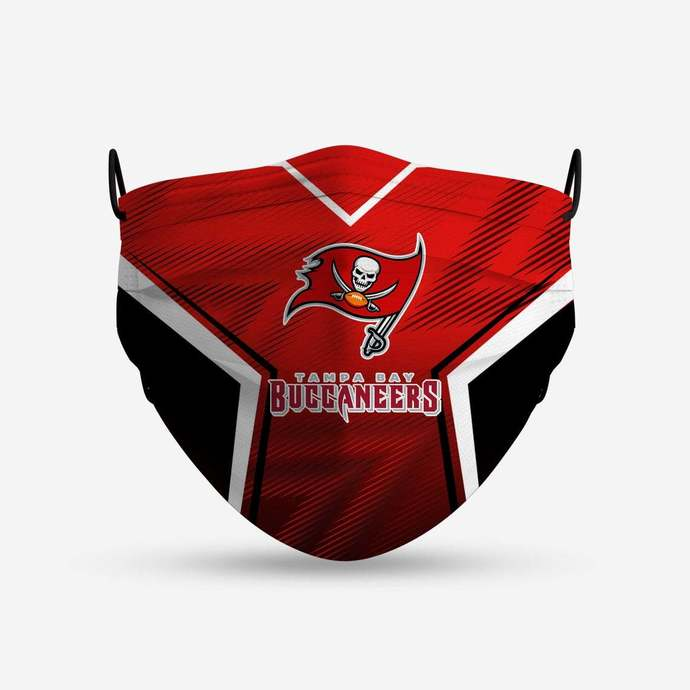Tampa Bay Buccaneers face mask, football, face protection, four layers, pleated,