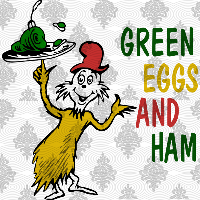 Green eggs and ham by Dr seuss, green egg and ham,Green eggs svg, Cat in the