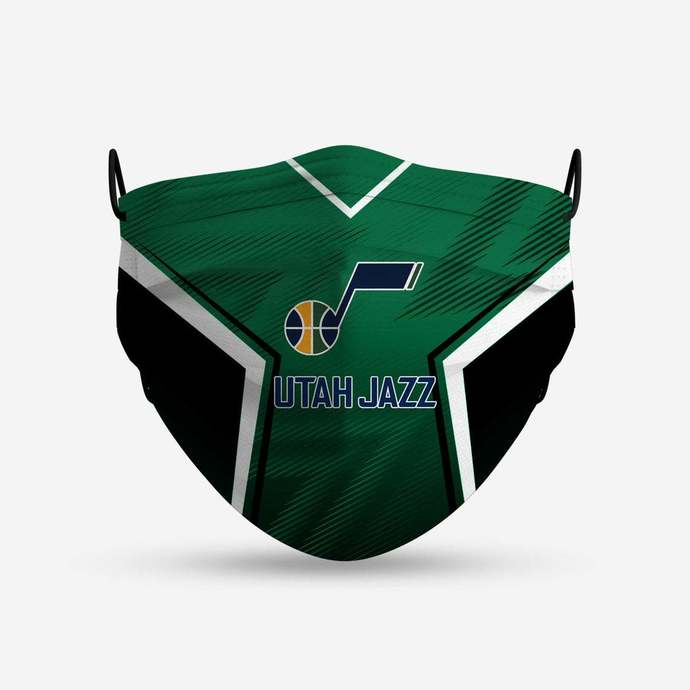 Utah Jazz face mask, football, face protection, four layers, pleated, elastic,