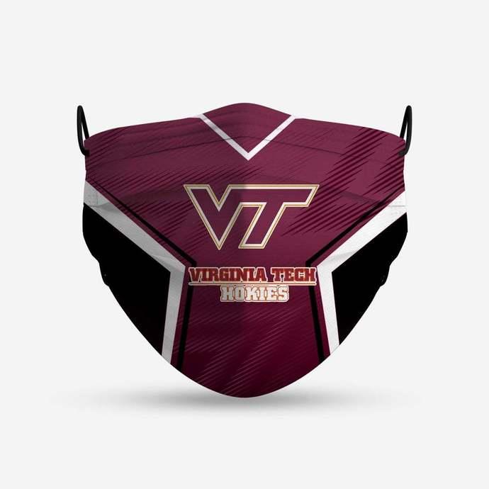 Virginia Tech Hokies face mask, football, face protection, four layers, pleated,