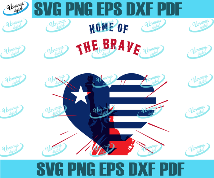 Home of the brave svg,heart flag,America flag,1776 July 4th,independence day