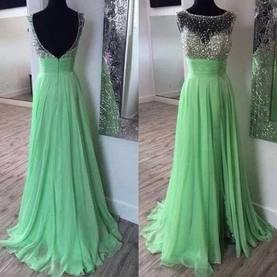 mint green beaded prom dresses 2020 backless crystals a line chiffon cheap 2021