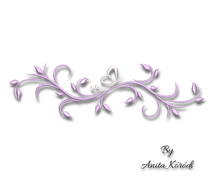 Flower With Butterfly Embroidery Design For Machine Pes Ornament Digital Instant