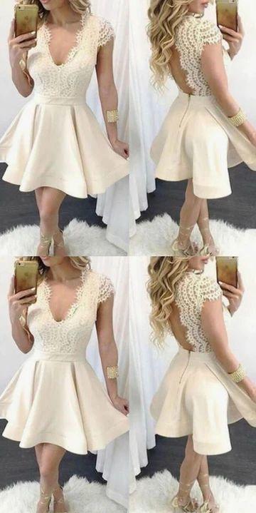 champagne cap sleeve prom dresses short v neck elegant satin cheap graduation