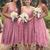 country style wedding party dresses 2020 pink lace tea length cheap bridesmaid