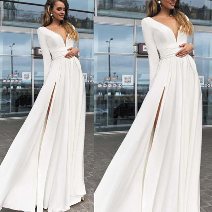 white prom dresses long sleeve v neck chiffon cheap a line elegant simple prom