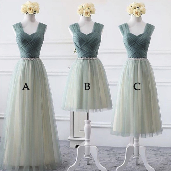 sage green cheap bridesmaid dresses 2021 long/short custom beaded tulle elegant
