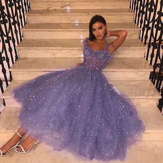 purple sparkly prom dresses tea length beaded elegant cheap graduation dresses