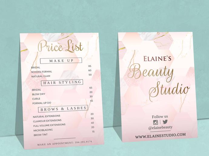 Beauty Salon Price List, Marble Price List, Editable Price List Template, Custom