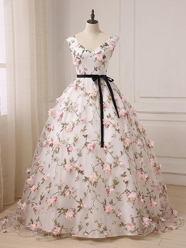 Lovely V-neckline Floral Long Ball Gown Party Dress, Evening Sweet 16 Dress