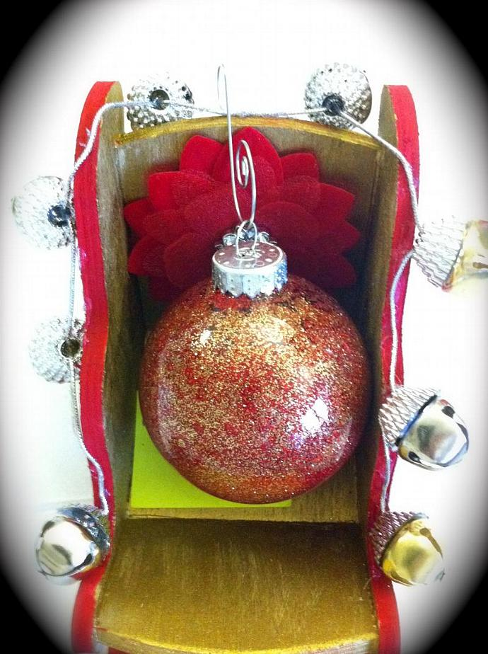 6Pk Glass Christmas Glitter Ornament Red/Gold