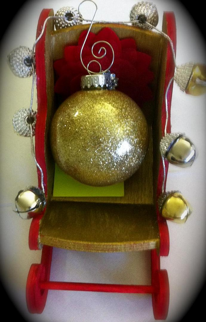 6 Pk Glass Christmas Ornament in Gold glitter