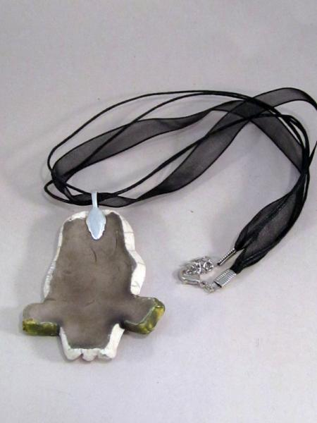 Raku Seal Clay Pottery Pendant Necklace Crackle fired ceramic art necklace