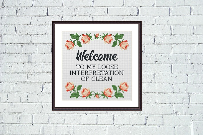 Welcome funny cross stitch flower border