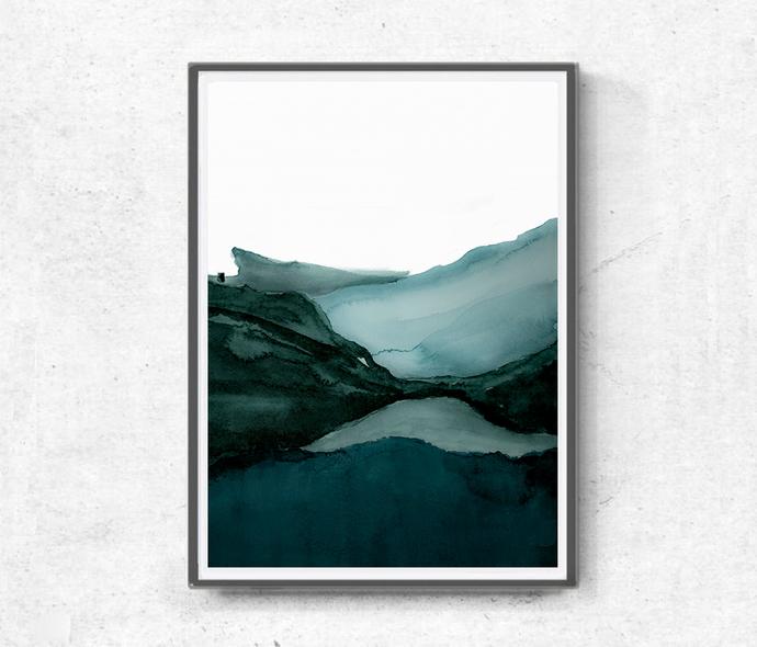 Landscape green set abstract, Printable Art, Art Poster, modern abstract,