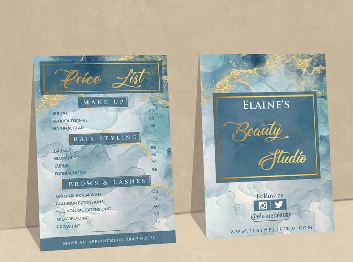 Beauty Salon Price List, Blue Gold Marble Price List, Editable Price List