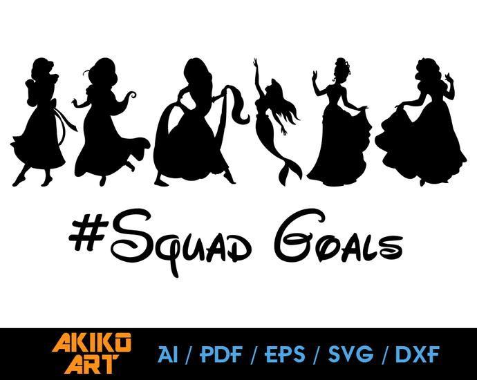 Disney Princess Vector Squad Goals Dxf Eps By Akiko Art On