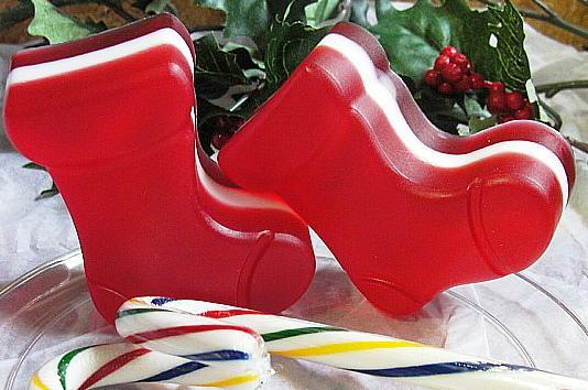 Santa Boots --Sox Three Peppermint Candy Layers-Glycerine