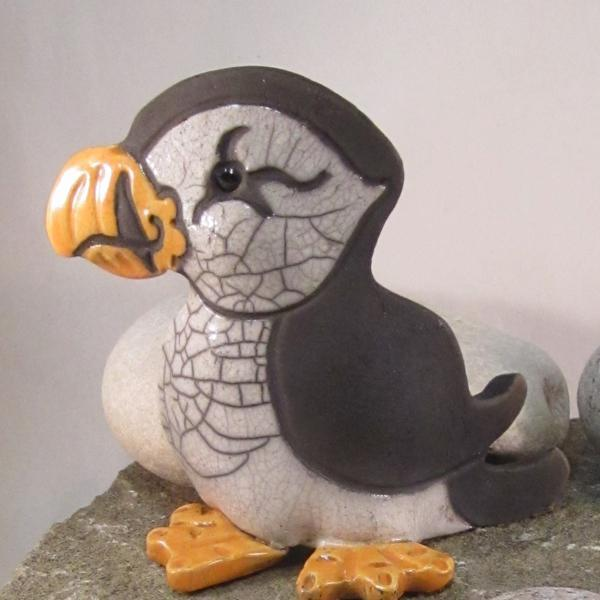 Raku Pottery Clay Puffin (Standing) Crackle Glaze ceramic bird sculpture