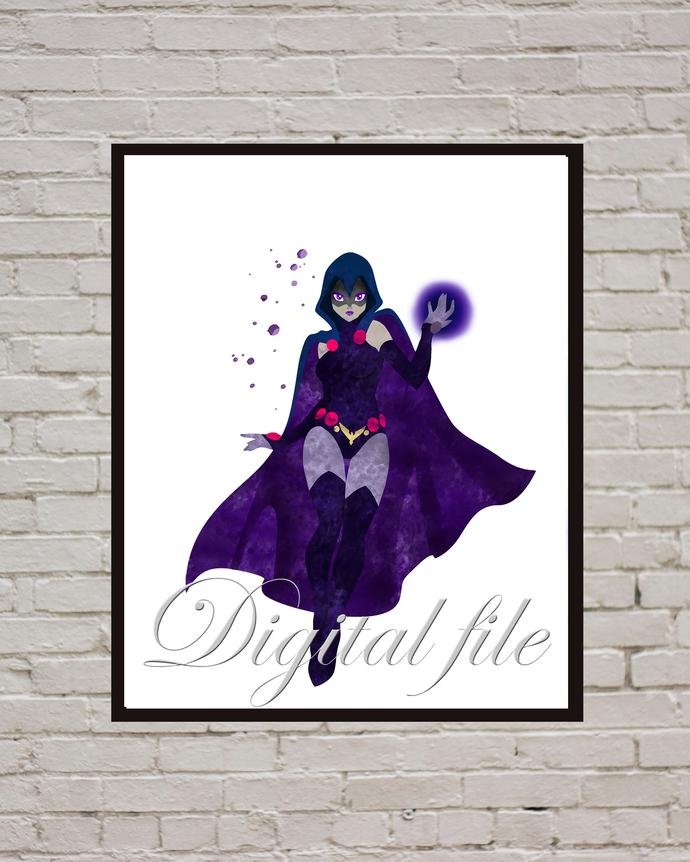 Raven Comics DC, superhero, Raven print poster, home decor, nursery room, wall
