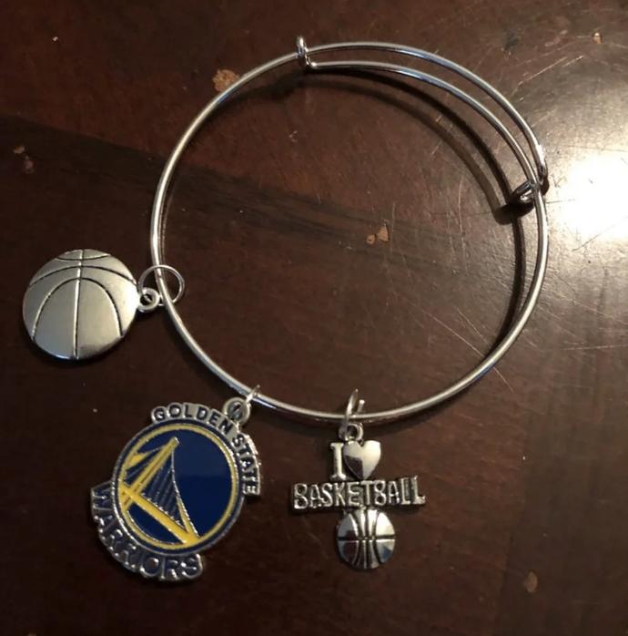 Golden state warriors bracelet, handmade charm bracelet